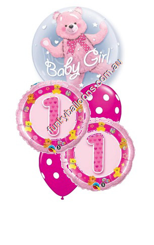 1st Birthday Girl Bear Double Bubble Bouquet